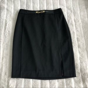 Express Black Pencil Skirt With Slit & Chain 4